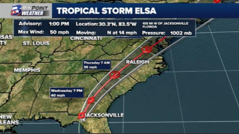 Latest information on Tropical Storm Elsa