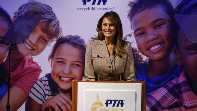 First lady Melania Trump speaks at the at the National PTA Legislative Conference in...