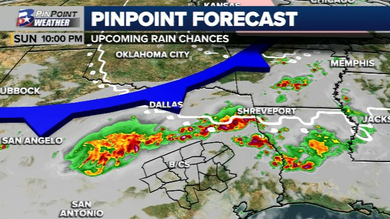An approaching cold front looks to bring rain and storms to portions of Texas