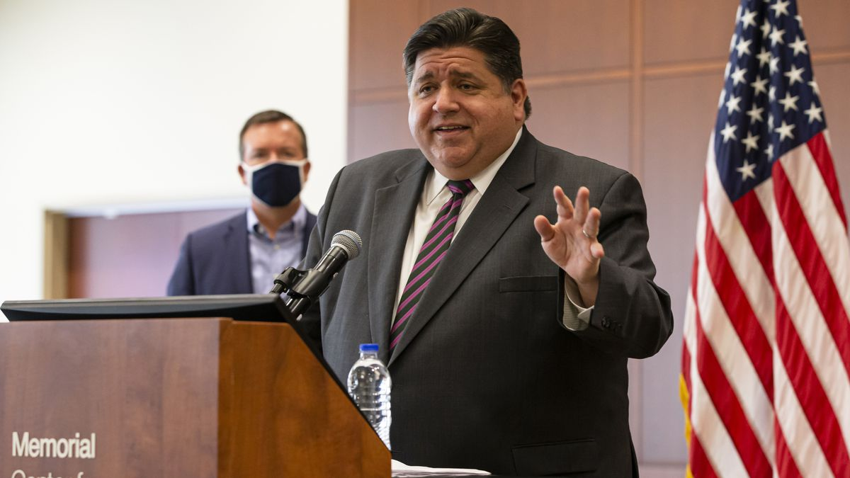 FILE - In this Sept. 21, 2020, Illinois Gov. J.B. Pritzker speaks in Springfield, Ill.