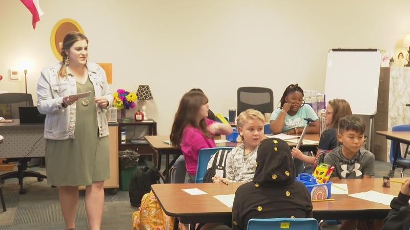 Students on first day of school at Caldwell Intermediate School.