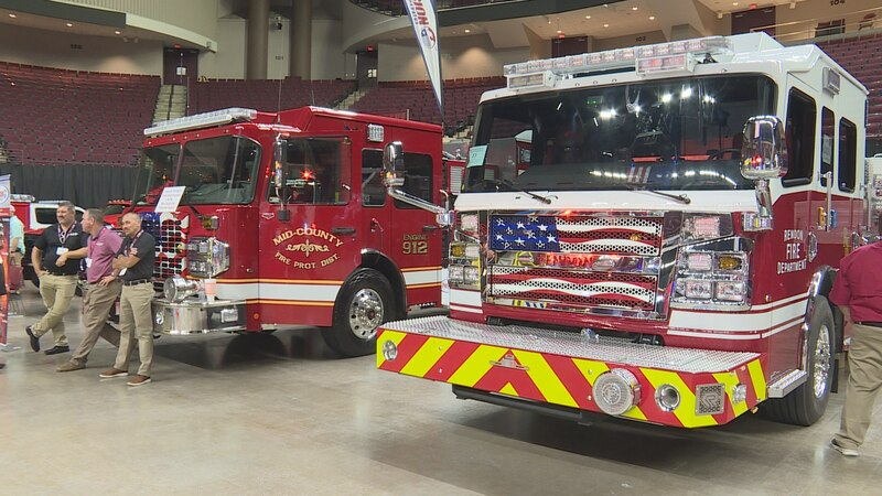 These are just a couple of the dozens of fire engines and other vehicles on display at the...