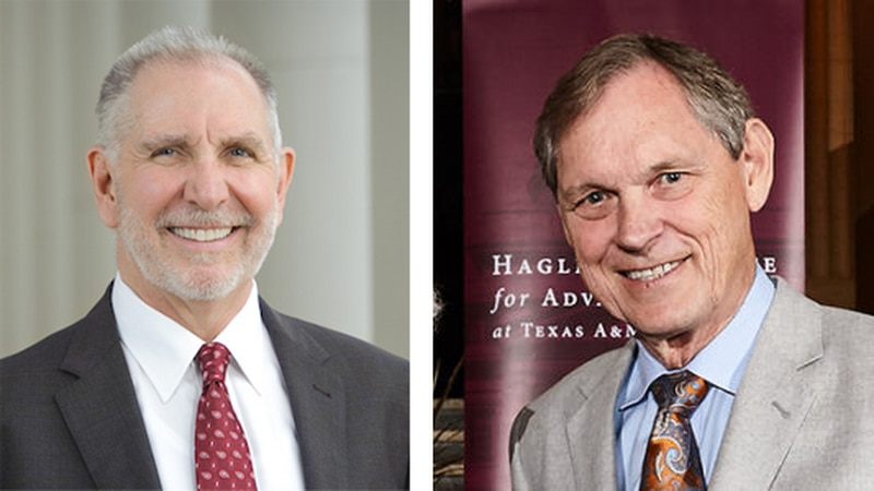 President Michael K. Young (left)  and Interim President Dr. John L. Junkins (right)