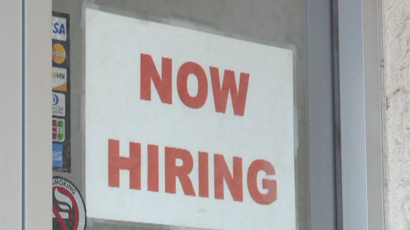 'Now Hiring' signs can be seen all over the BCS area.