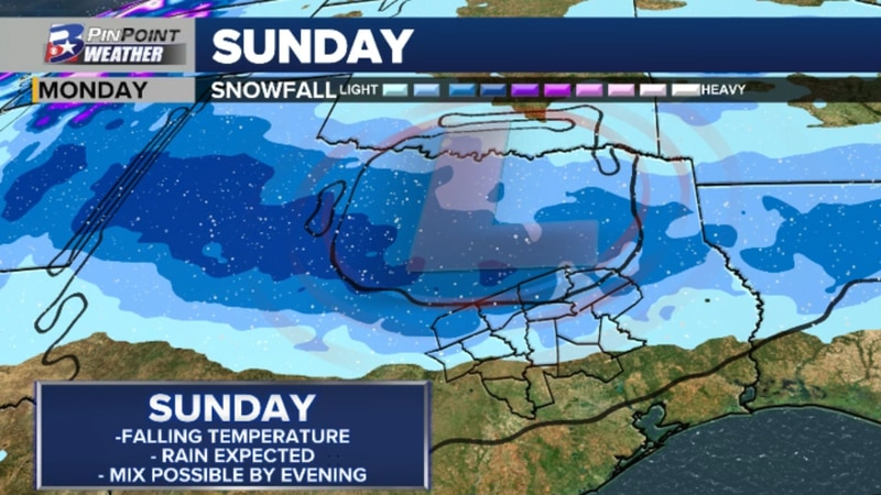 A winter storm will sweep across Texas Sunday, January 10th