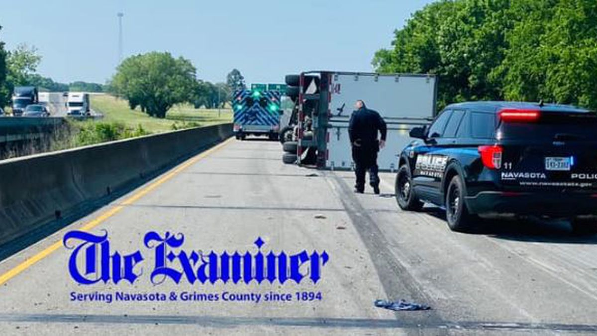 Emergency crews in Grimes County on Monday responded to a rollover crash involving a semi in...