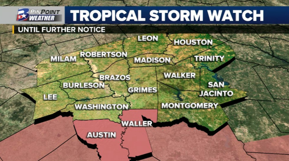 A Tropical Storm Watch has been issued for parts of Austin and Waller counties.