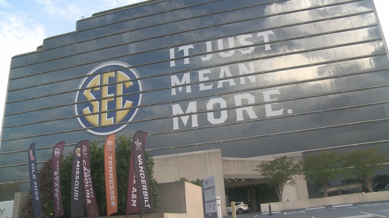 Outside the Wynfrey Hotel in Hoover, Alabama for 2021 SEC Media Days.