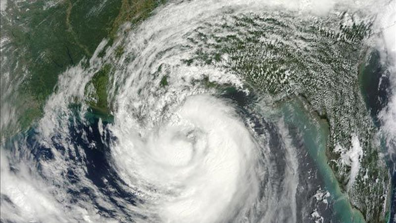 A satellite image of Hurricane Isaac over the US Gulf coast on August 28, 2012. (Source: NASA...