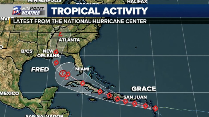 Monitoring the Remnants of Fred and Tropical Storm Grace Saturday afternoon.