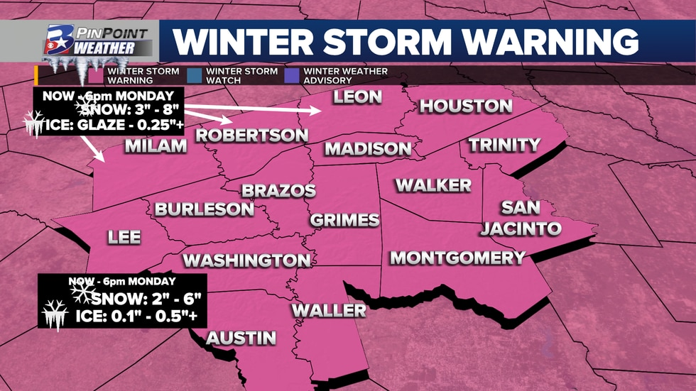 The entire state of Texas was under a Winter Storm Warning on Sunday, Feb. 14. The Brazos...