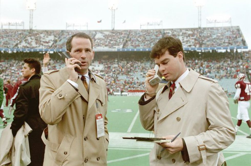 Gary Reynolds and Tim Cassidy working the recruiting phonelines during a Cotton Bowl back in...