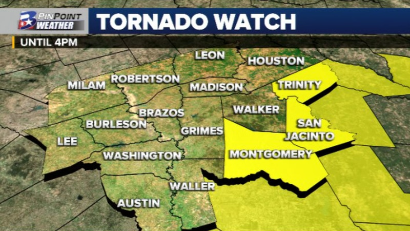 Tornado Watch issued for Trinity, San Jacinto, and Montgomery counties.