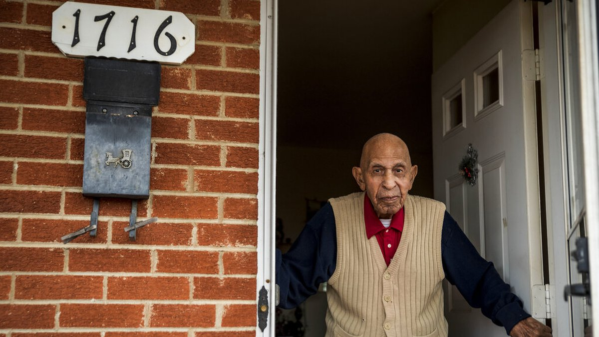 In this Wednesday, Dec. 9, 2020, file photo, Alfred Farrar, a Tuskegee Airman who is...