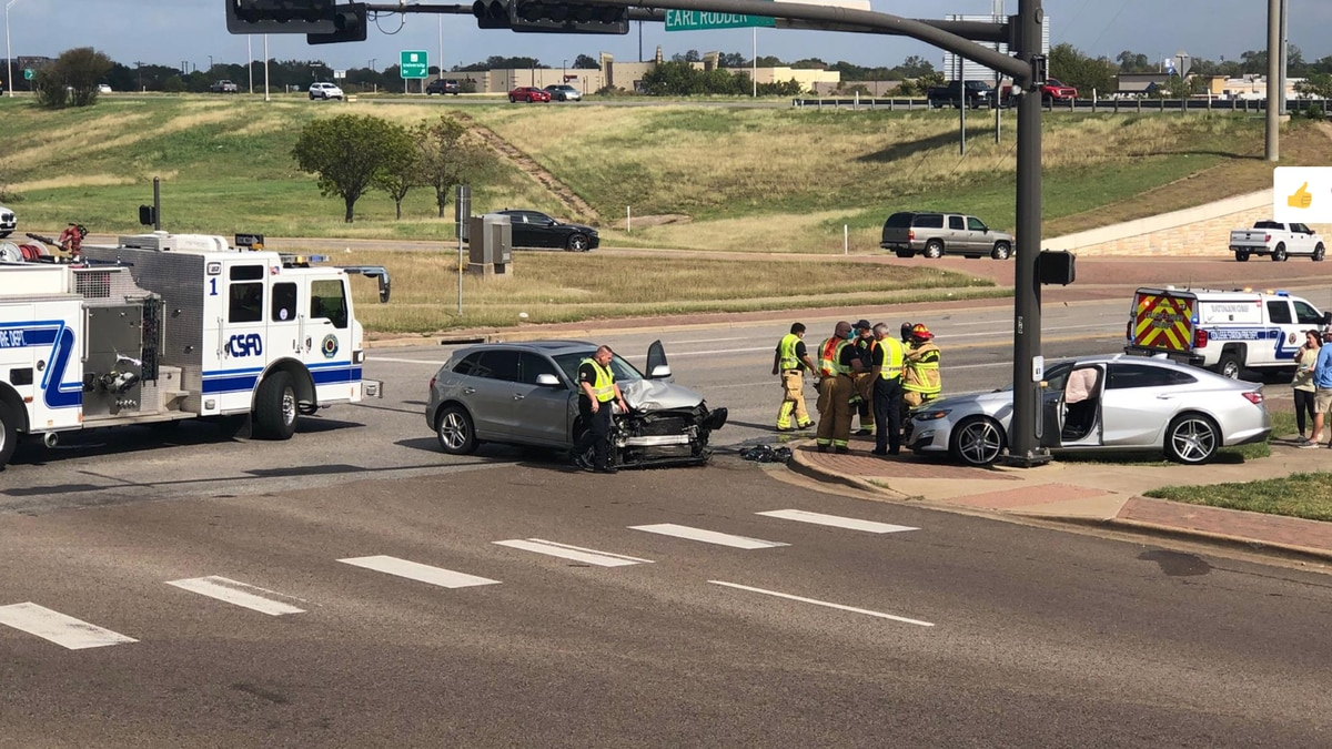 Accident on southbound Highway 6 feeder road at Harvey Road Sunday morning.