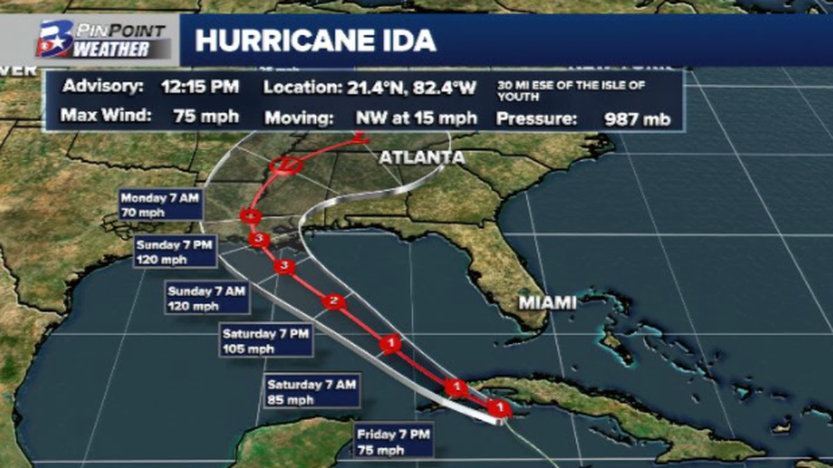 Ida has strengthened into a hurricane early Friday afternoon