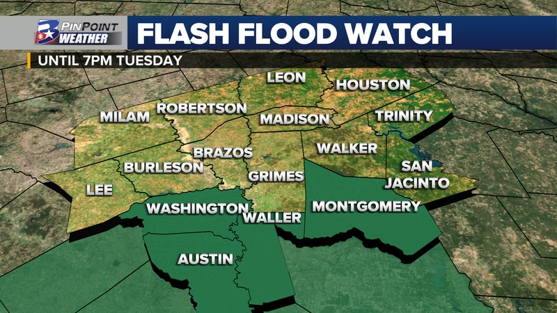 A Flash Flood Watch has been EXTENDED through 7pm Tuesday for the Southern Brazos Valley.