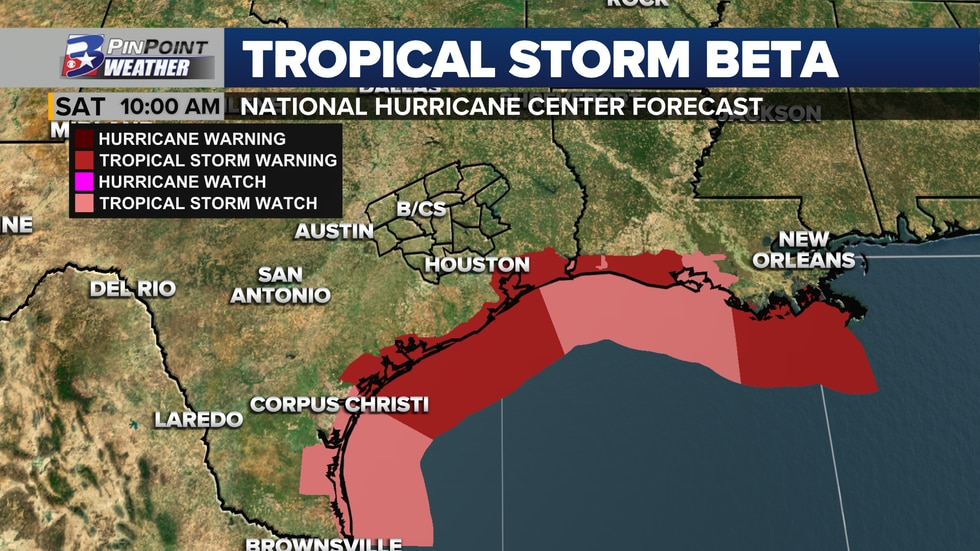 Tropical Storm Warnings are in effect for portions of the Texas and Louisiana coastlines.