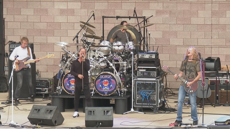 Band performing at the Starlight concert series at Wolf Pen Creek Amphitheater in  College...