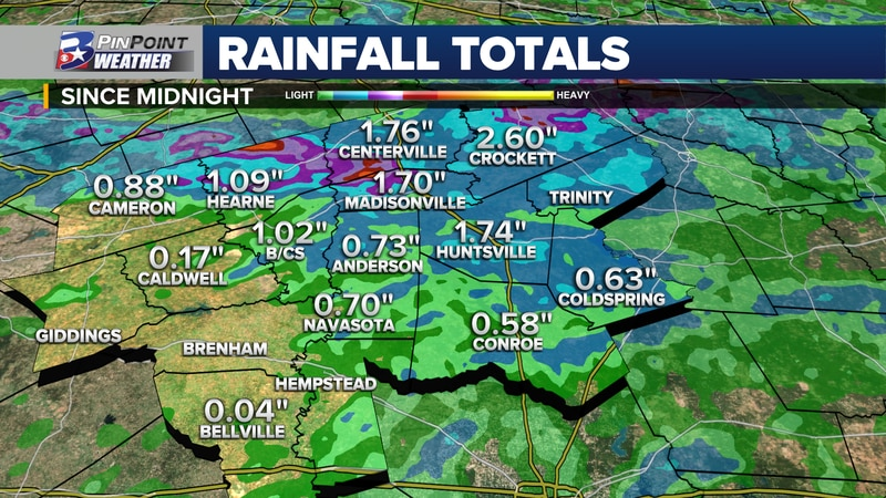 Rainfall totals across the Brazos Valley Monday, July 12th, 2021