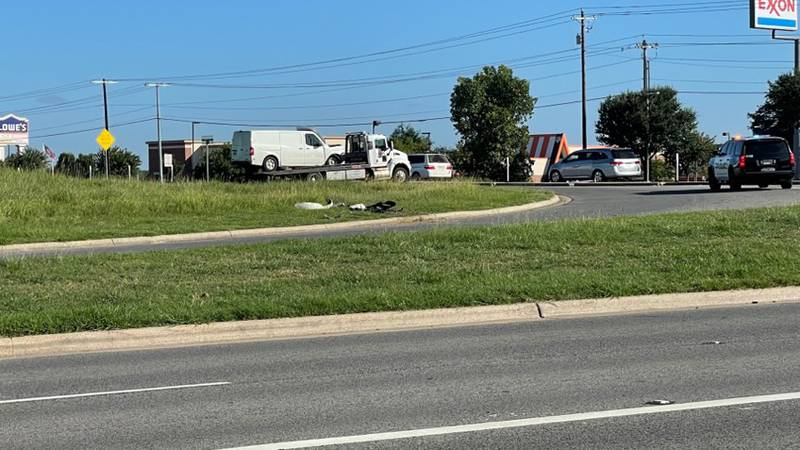 A crash slowed down traffic on the Highway 6 feeder road Monday morning.