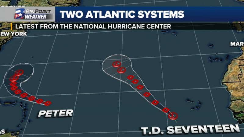 The 10am CDT forecast for Tropical Storm Peter and Tropical Depression Seventeen