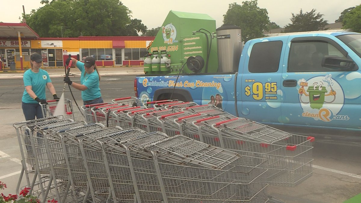 Clean R Cans was at Farm Patch Friday morning sanitizing shopping carts.
