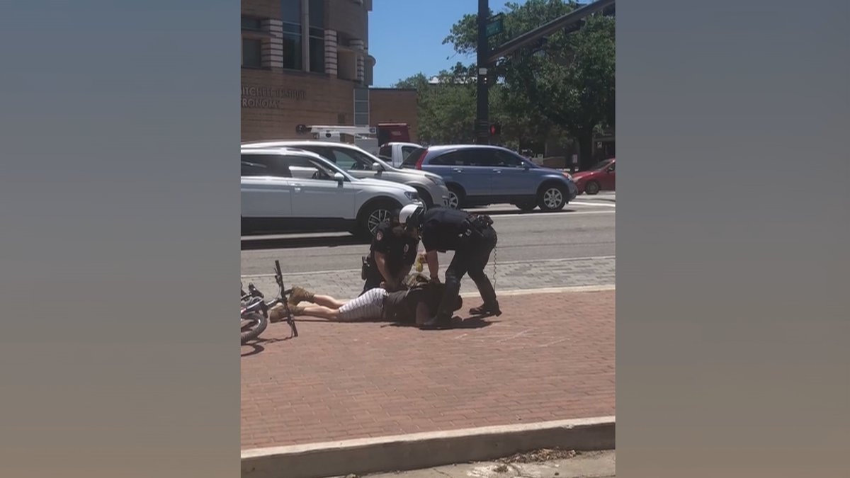 A College Station police officer is heard on video warning the bicyclist he would be tased if...