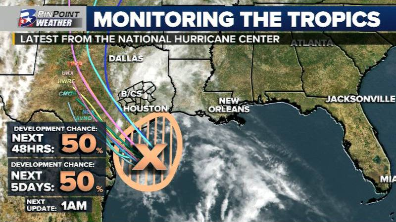 As of the 7pm update from the National Hurricane Center, the odds for development have slightly...