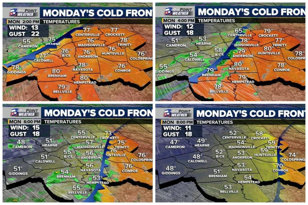 Forecast temperatures Monday afternoon through evening.