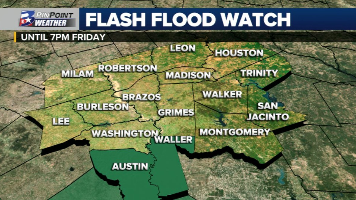 Flash Flood Watch is out for Austin & Waller counties until 7pm Friday.