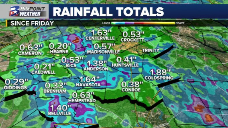 Rainfall totals from official observation stations and weather watchers across the Brazos...