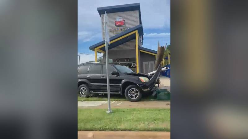 An SUV hit a utility pole Sunday afternoon on Washington Avenue resulting in power outages for...