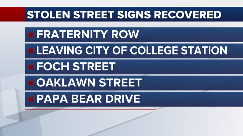 These are several of the street signs from Bryan and College Station that were recovered by...