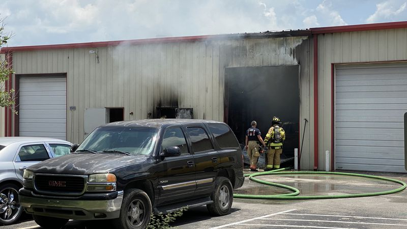 No injuries after fire consumed the inside of this mechanic shop in Bryan on Colson Road near...