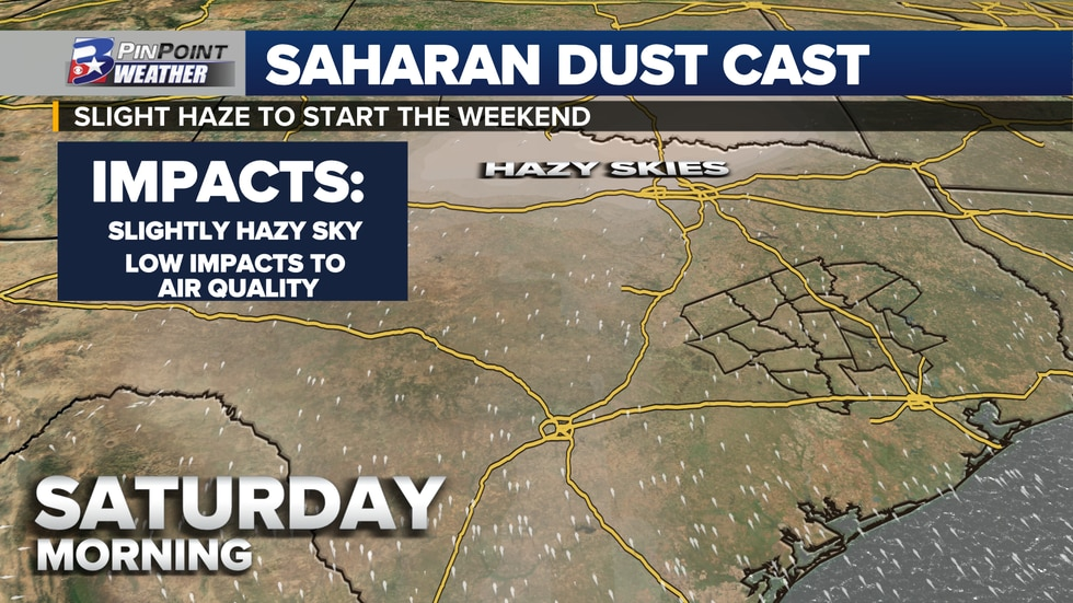 A light concentration of Saharan dust is expected to pass through the Brazos Valley Friday.
