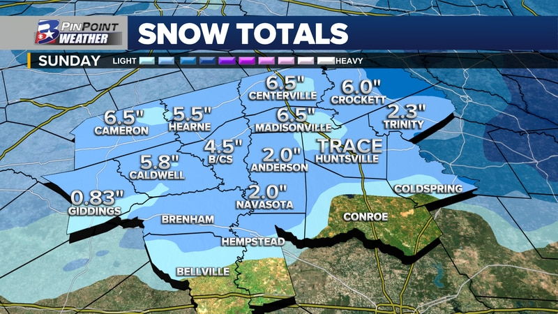 Snowfall totals across the Brazos Valley