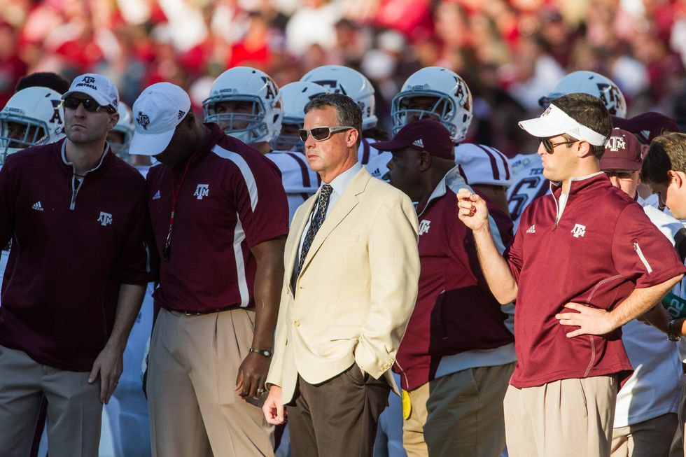 Gary Reynolds on the sidelines during Texas A&M - Alabama football game.