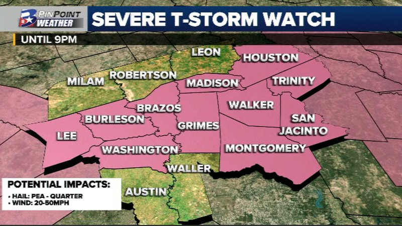 Severe Thunderstorm Watch is in effect for the counties in pink until 9pm Tuesday evening.