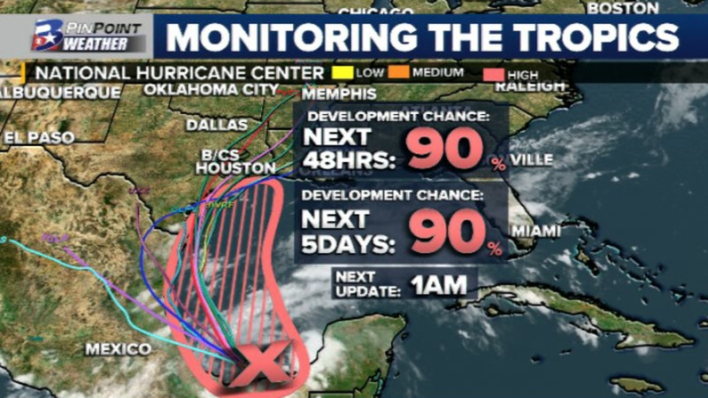 A tropical wave in the southern Gulf is expected to develop into a tropical depression Sunday...
