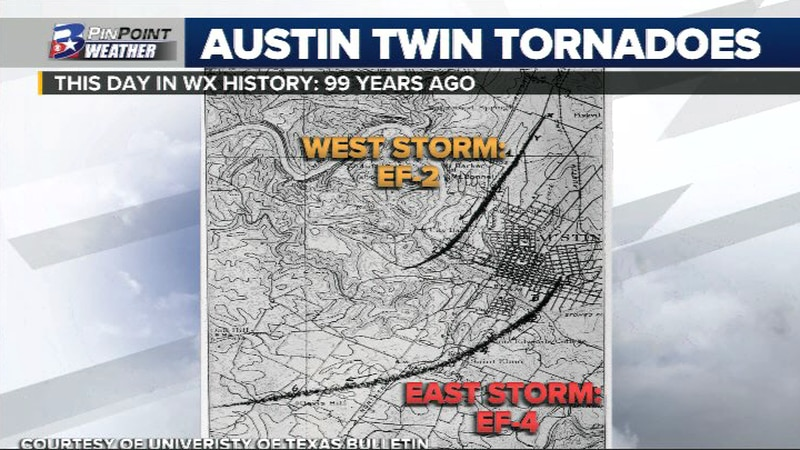Tornadoes hits Austin Texas minutes apart on this day in WX History
