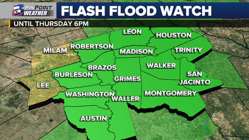 A Flash Flood Watch has been issued until Thursday afternoon for a majority of the Brazos Valley.