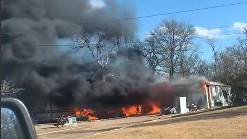 A travel trailer and garage were destroyed Sunday afternoon by fire on Cherry Bend Circle in...