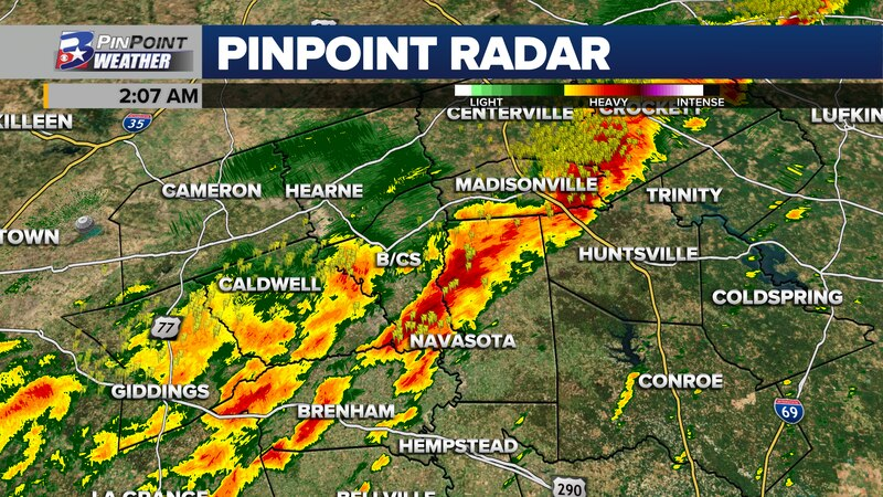 Non-severe thunderstorms will spend the pre-sunrise hours of Monday moving across the Brazos...