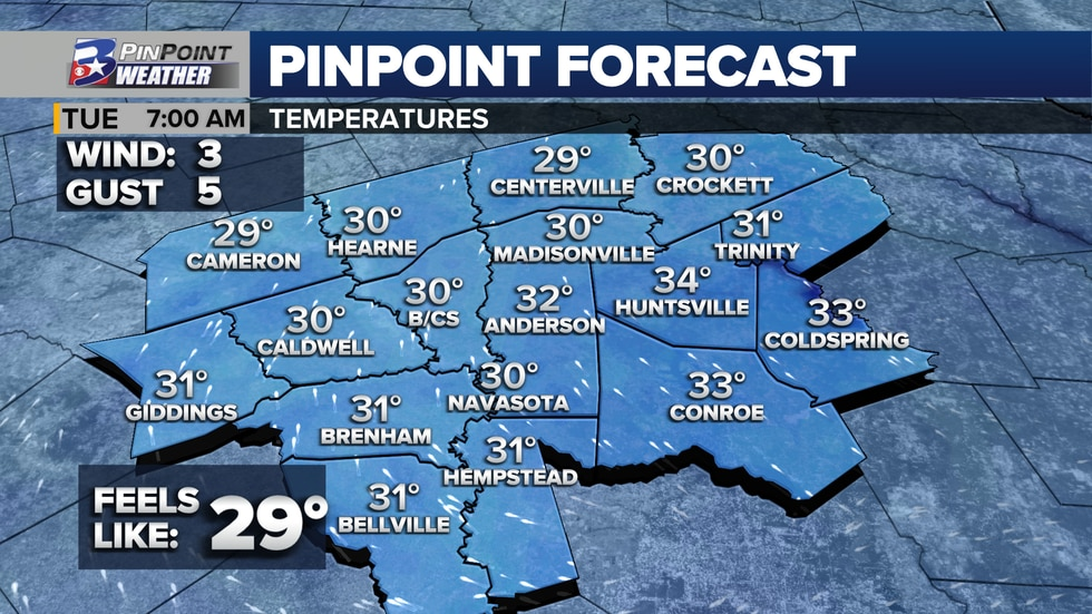 Forecast low temperatures for Tuesday, December 1st