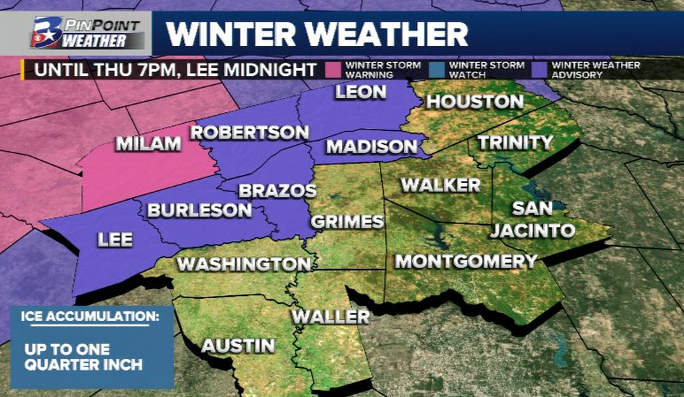 A Winter Weather Advisory has been issued for the northern half of the Brazos Valley until...