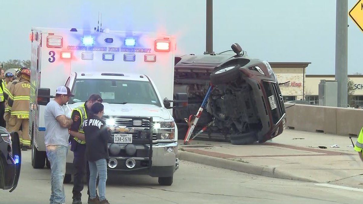 College Station say the driver of this SUV ran a red light and struck a pedestrian holding an...