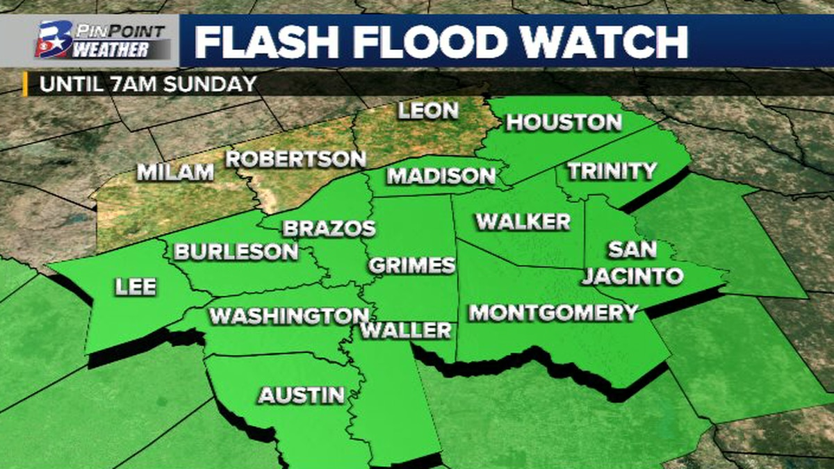 A Flash Flood Watch remains in effect for the majority of the Brazos Valley until 7am Sunday...