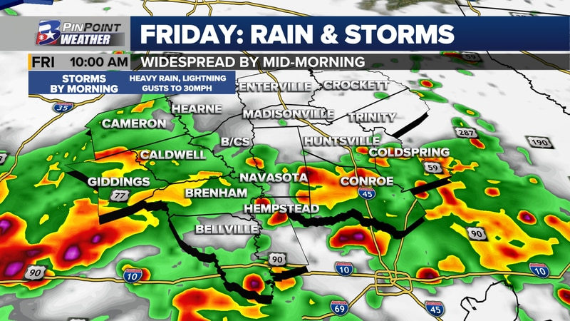Widespread rain and non-severe storms are expected to blossom across the Brazos Valley Friday...