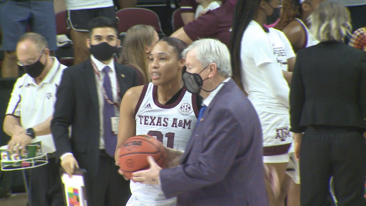 N'dea Jones is recognized for becoming Texas A&M's all-time leading rebounder during a game...
